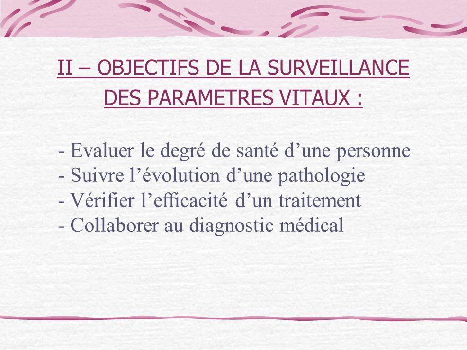 II – OBJECTIFS DE LA SURVEILLANCE DES PARAMETRES VITAUX :