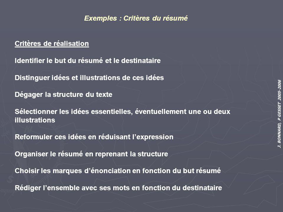 Exemples : Critères du résumé