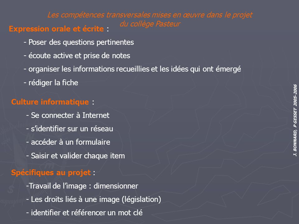 Les compétences transversales mises en œuvre dans le projet du collège Pasteur