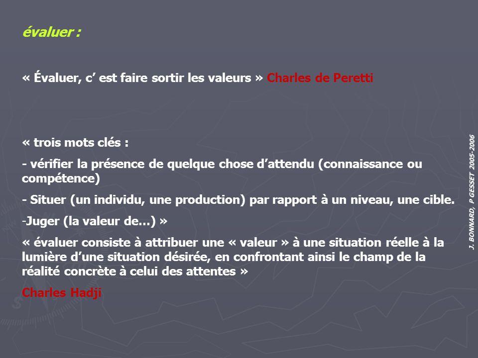 évaluer : « Évaluer, c' est faire sortir les valeurs » Charles de Peretti. « trois mots clés :