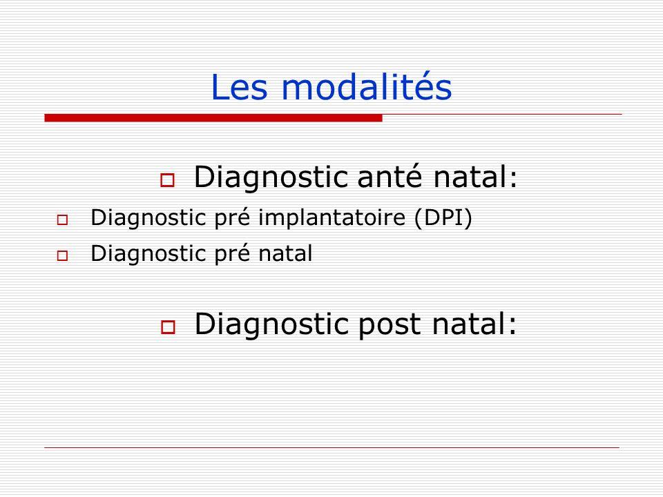 Les modalités Diagnostic anté natal: Diagnostic post natal: