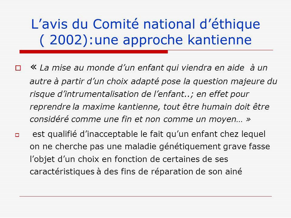 L'avis du Comité national d'éthique ( 2002):une approche kantienne