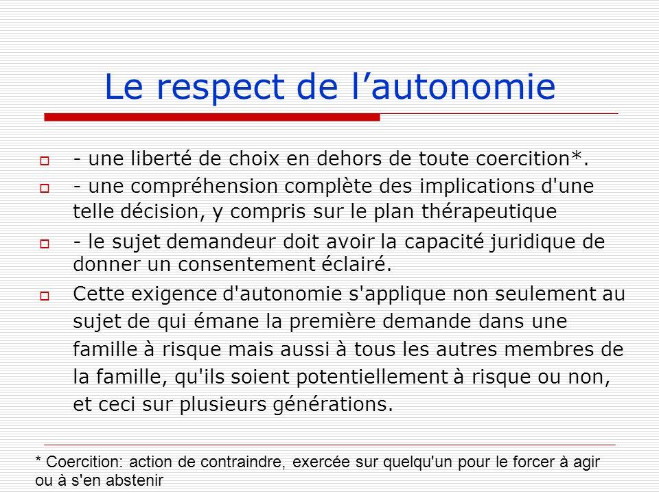 Le respect de l'autonomie