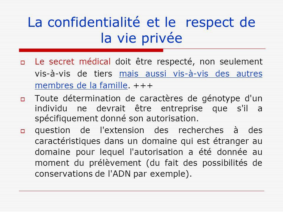 La confidentialité et le respect de la vie privée