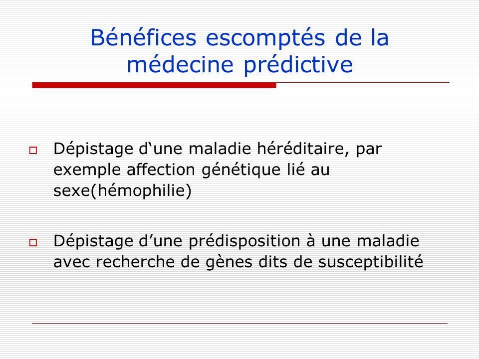 Bénéfices escomptés de la médecine prédictive