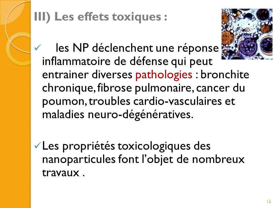 III) Les effets toxiques :