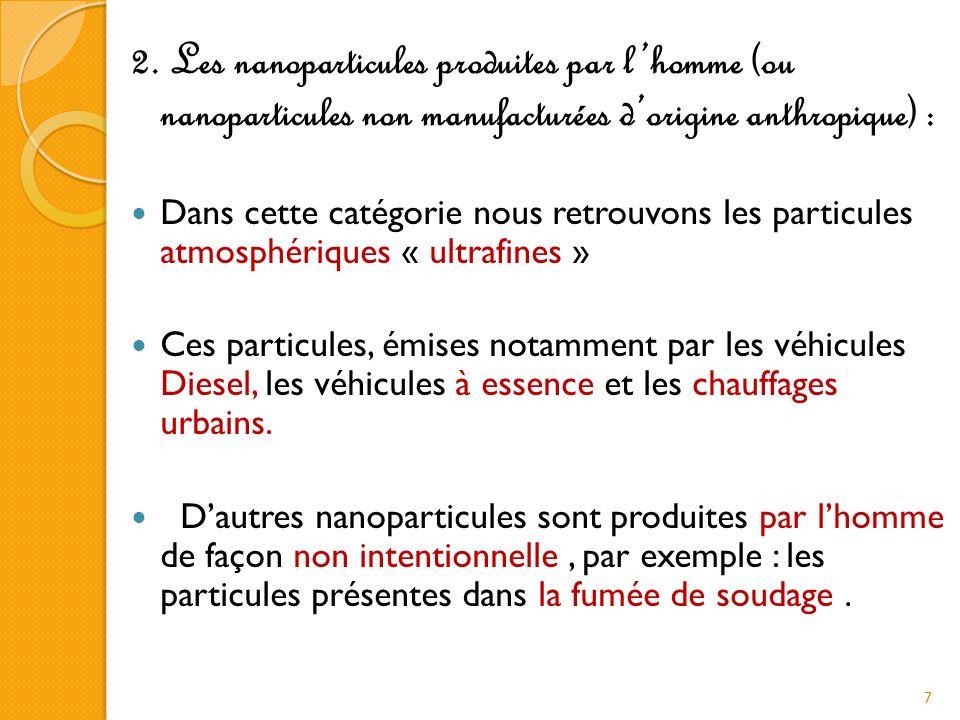 2. Les nanoparticules produites par l'homme (ou nanoparticules non manufacturées d'origine anthropique) :
