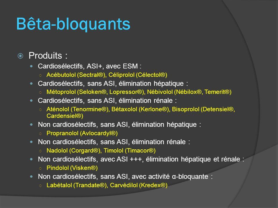 Bêta-bloquants Produits : Cardiosélectifs, ASI+, avec ESM :