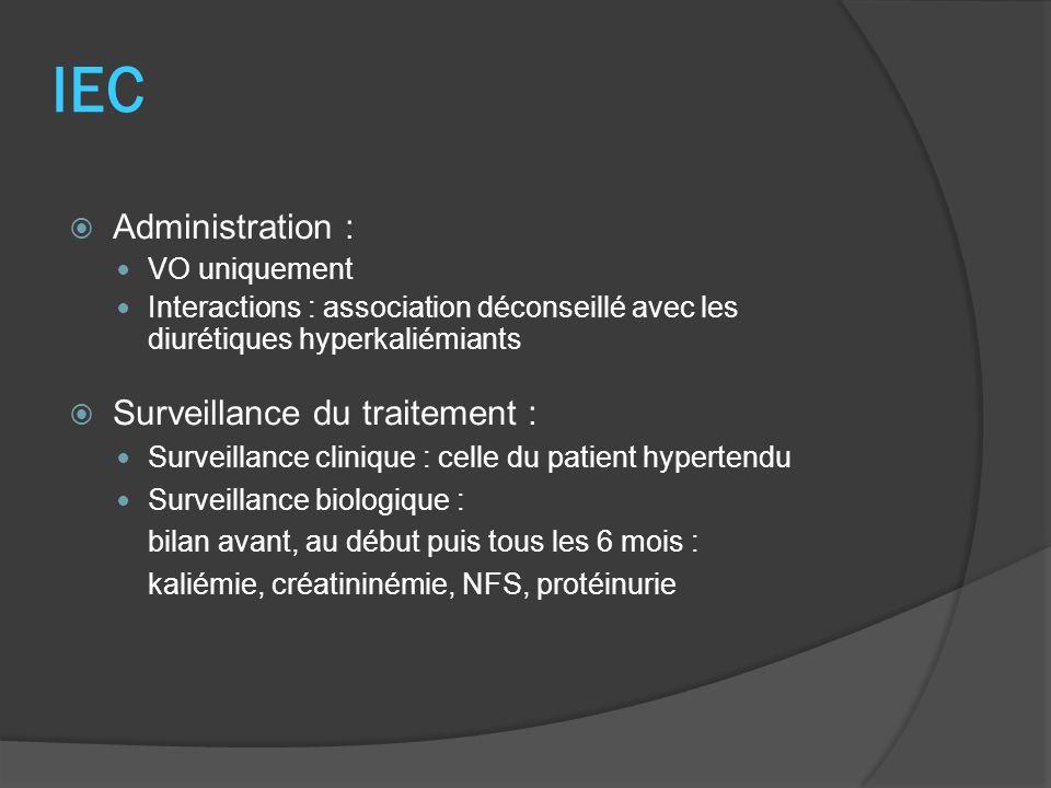 IEC Administration : Surveillance du traitement : VO uniquement