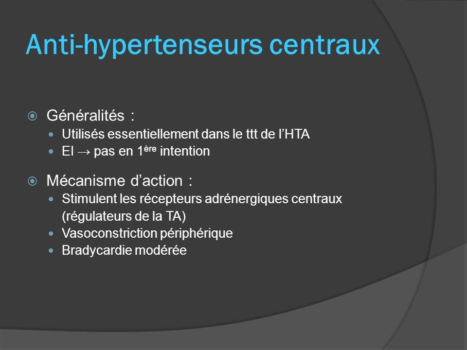 Anti-hypertenseurs centraux