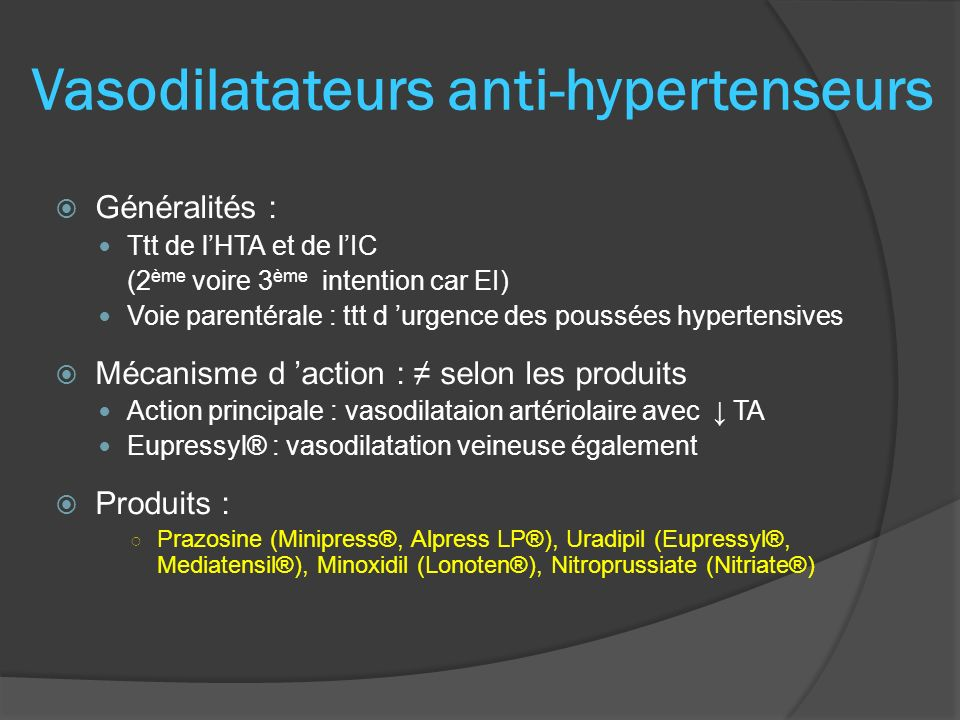 Vasodilatateurs anti-hypertenseurs