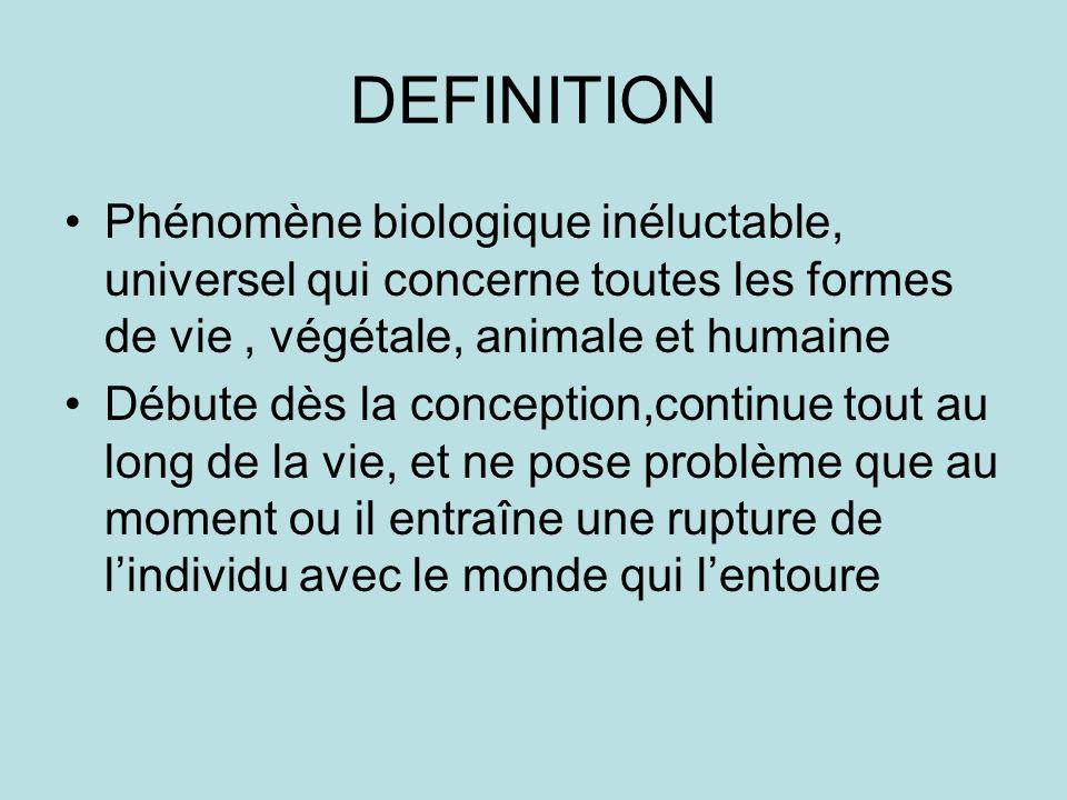 DEFINITION Phénomène biologique inéluctable, universel qui concerne toutes les formes de vie , végétale, animale et humaine.