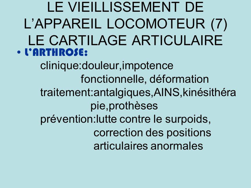 LE VIEILLISSEMENT DE L'APPAREIL LOCOMOTEUR (7) LE CARTILAGE ARTICULAIRE