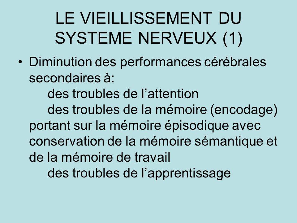 LE VIEILLISSEMENT DU SYSTEME NERVEUX (1)