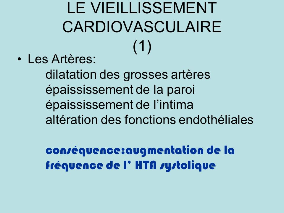 LE VIEILLISSEMENT CARDIOVASCULAIRE (1)