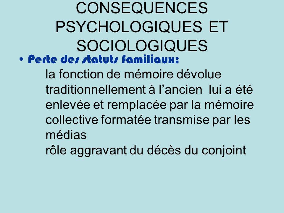 CONSEQUENCES PSYCHOLOGIQUES ET SOCIOLOGIQUES