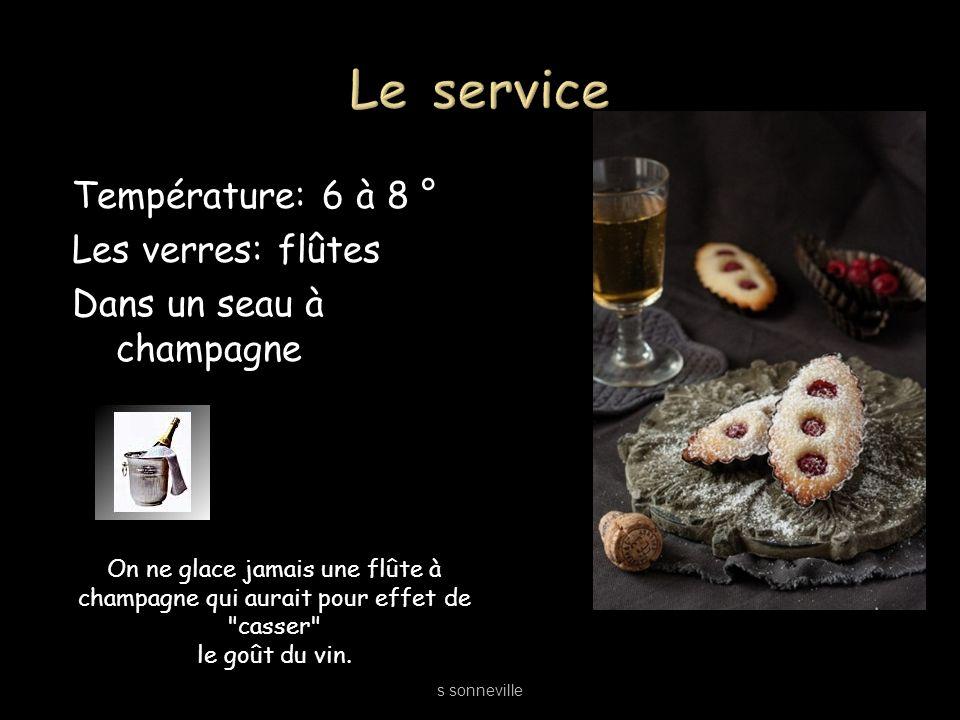Le service Température: 6 à 8 ° Les verres: flûtes