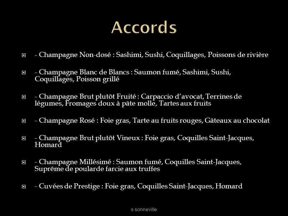 Accords - Champagne Non-dosé : Sashimi, Sushi, Coquillages, Poissons de rivière.