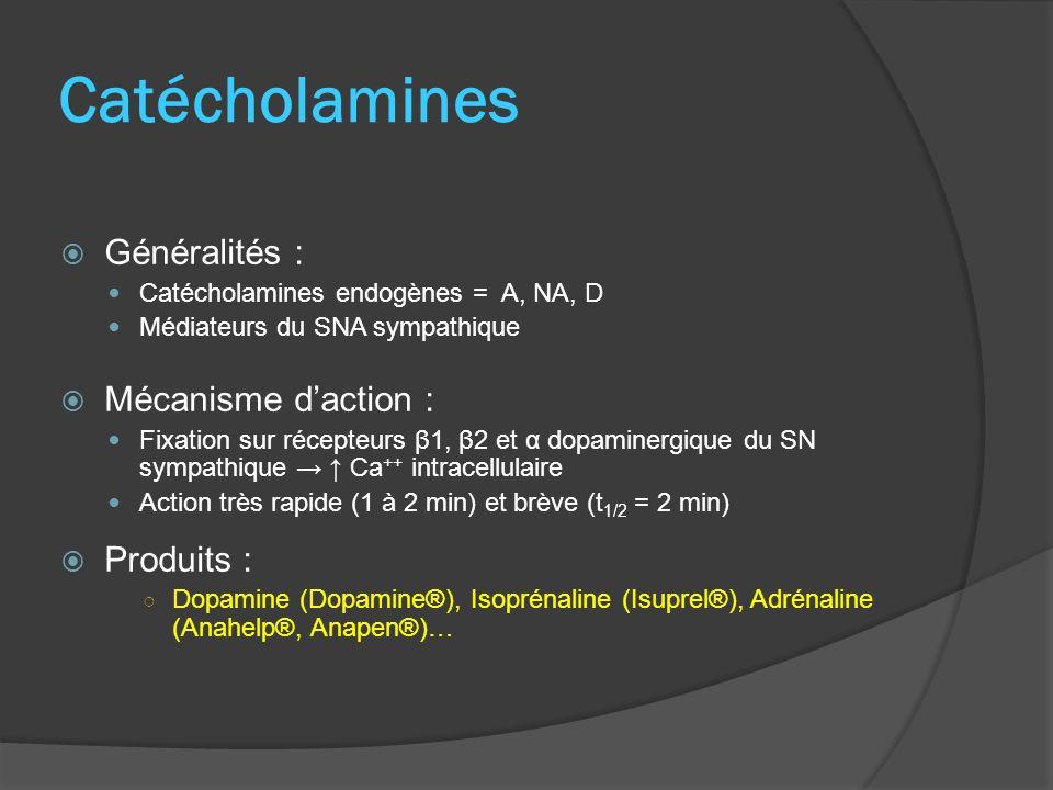 Catécholamines Généralités : Mécanisme d'action : Produits :