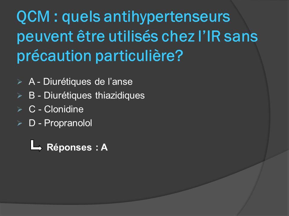QCM : quels antihypertenseurs peuvent être utilisés chez l'IR sans précaution particulière