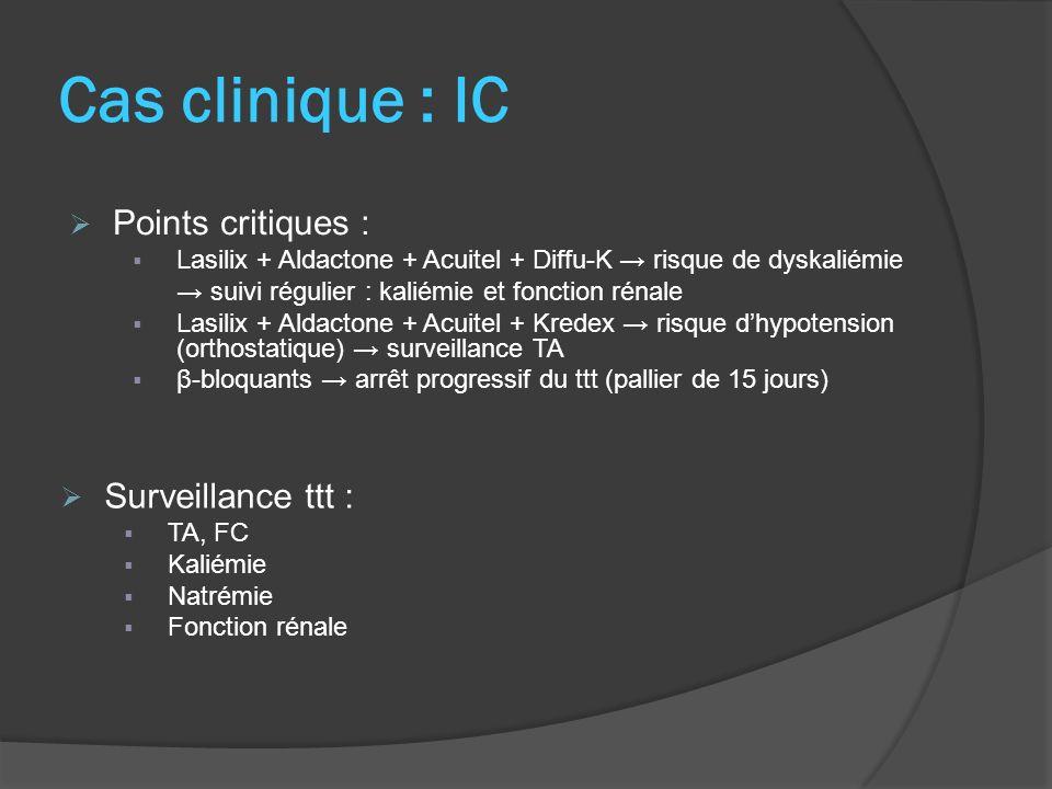 Cas clinique : IC Points critiques : Surveillance ttt :