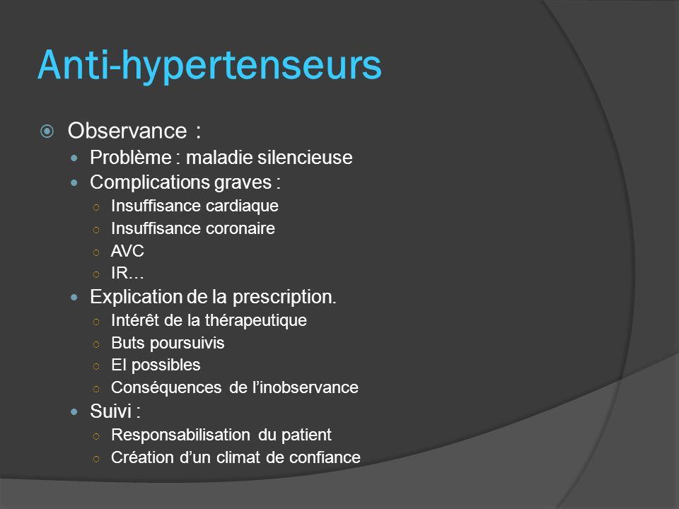 Anti-hypertenseurs Observance : Problème : maladie silencieuse