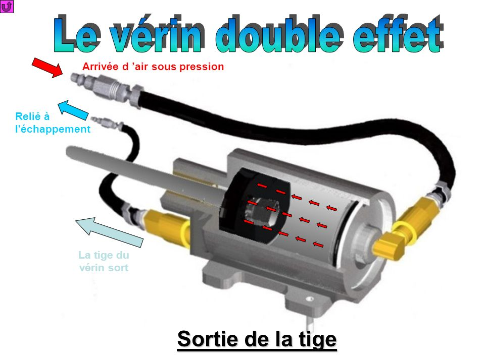 Le vérin double effet Sortie de la tige Arrivée d 'air sous pression