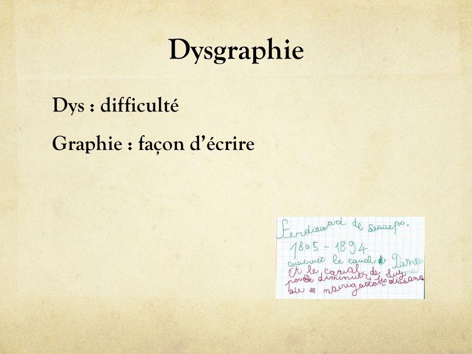 Dysgraphie Dys : difficulté Graphie : façon d'écrire
