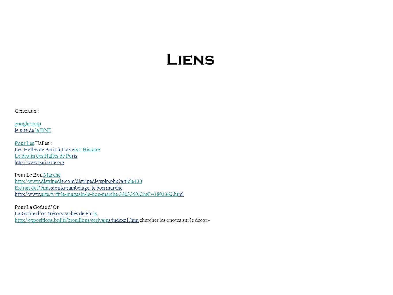 Liens Généraux : google-map le site de la BNF Pour Les Halles :