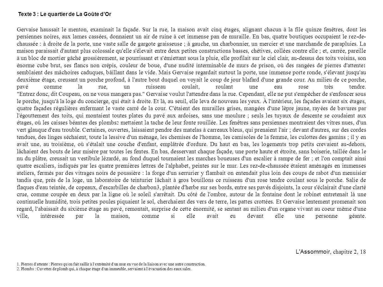 Texte 3 : Le quartier de La Goûte d'Or