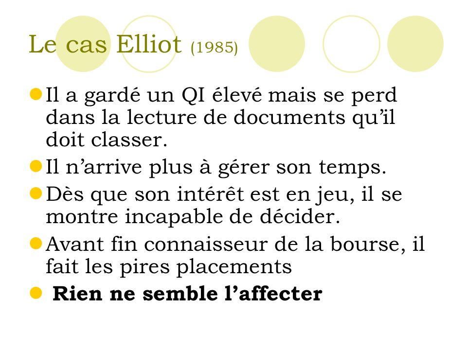 Le cas Elliot (1985) Il a gardé un QI élevé mais se perd dans la lecture de documents qu'il doit classer.