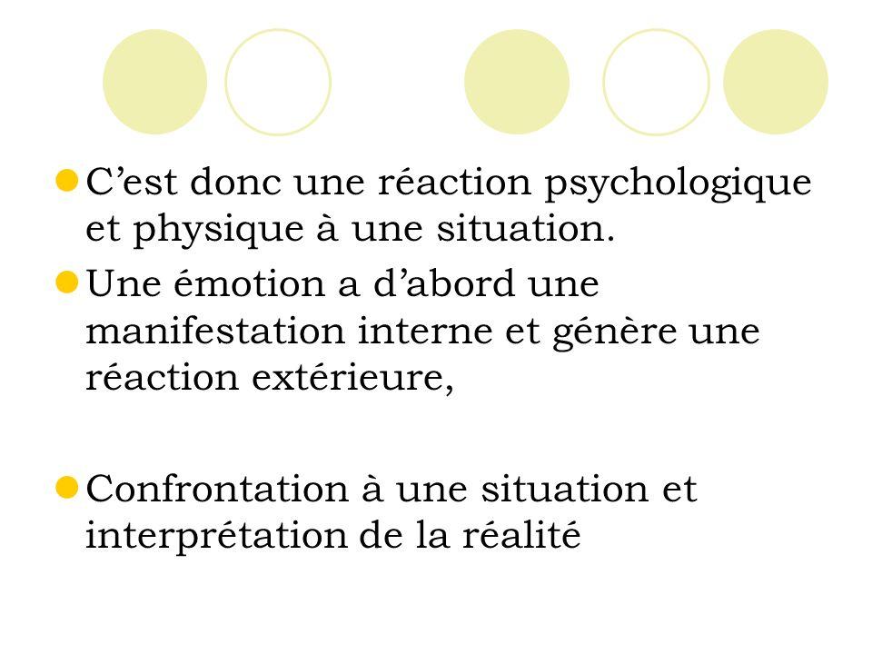 C'est donc une réaction psychologique et physique à une situation.