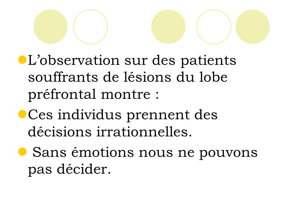 L'observation sur des patients souffrants de lésions du lobe préfrontal montre :