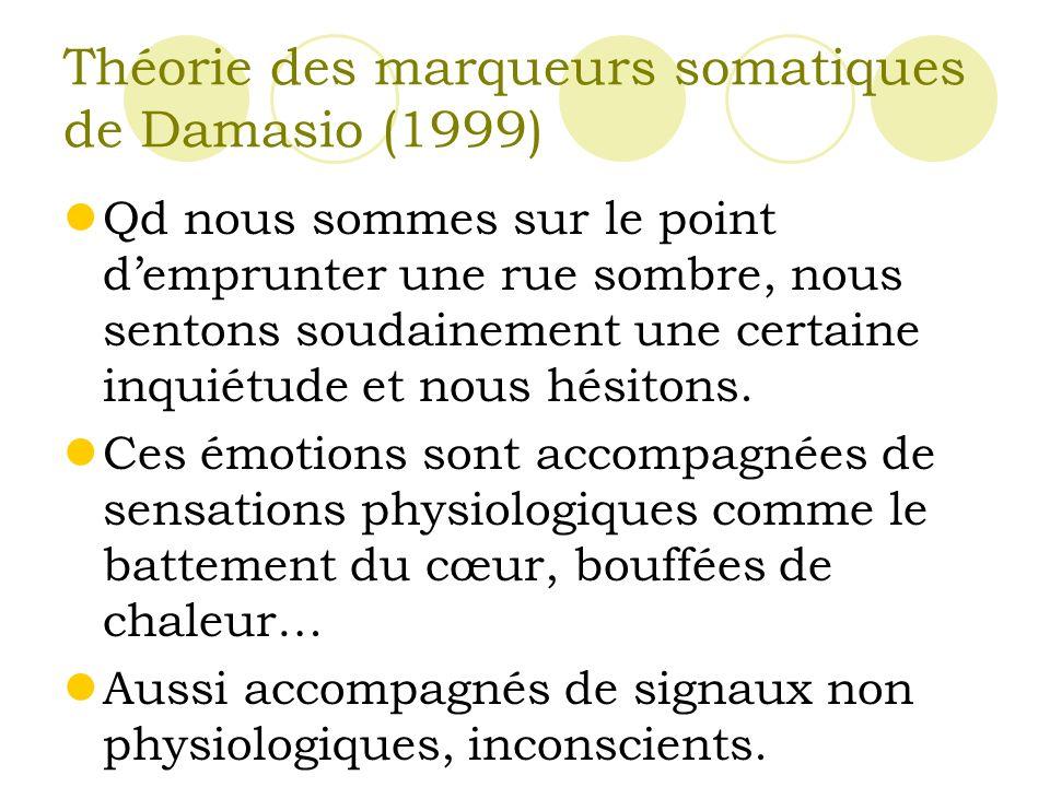 Théorie des marqueurs somatiques de Damasio (1999)