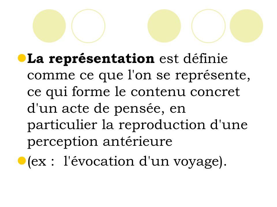 La représentation est définie comme ce que l on se représente, ce qui forme le contenu concret d un acte de pensée, en particulier la reproduction d une perception antérieure
