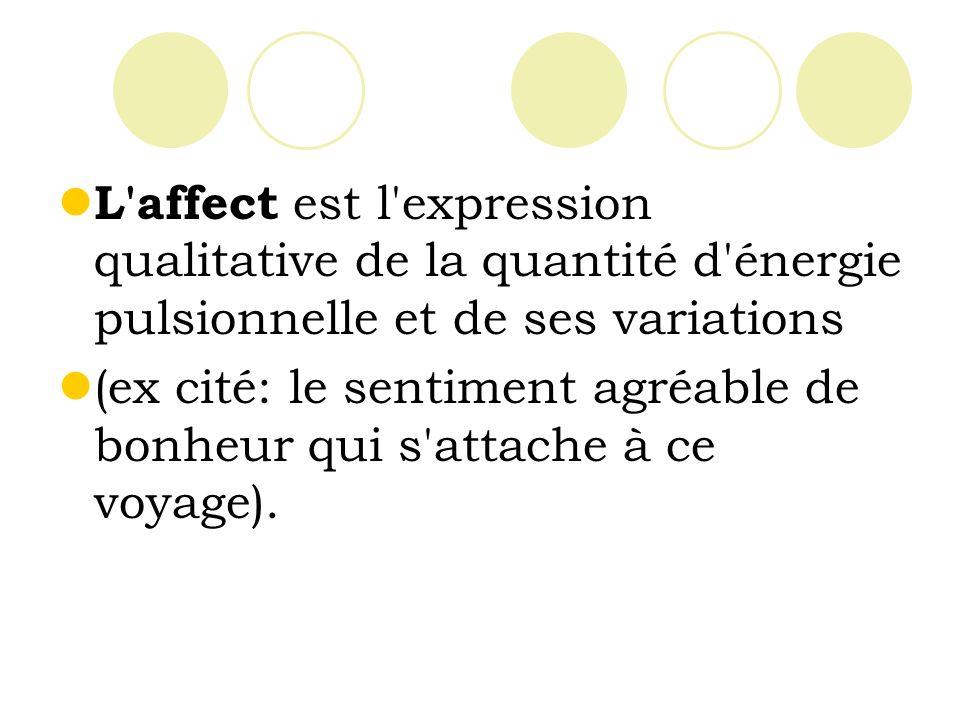 L affect est l expression qualitative de la quantité d énergie pulsionnelle et de ses variations
