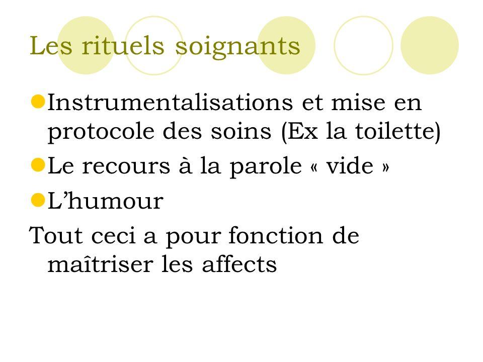 Les rituels soignants Instrumentalisations et mise en protocole des soins (Ex la toilette) Le recours à la parole « vide »