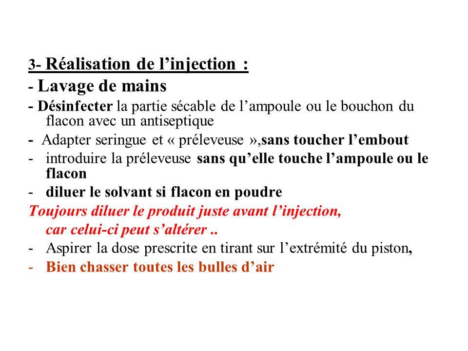 3- Réalisation de l'injection :