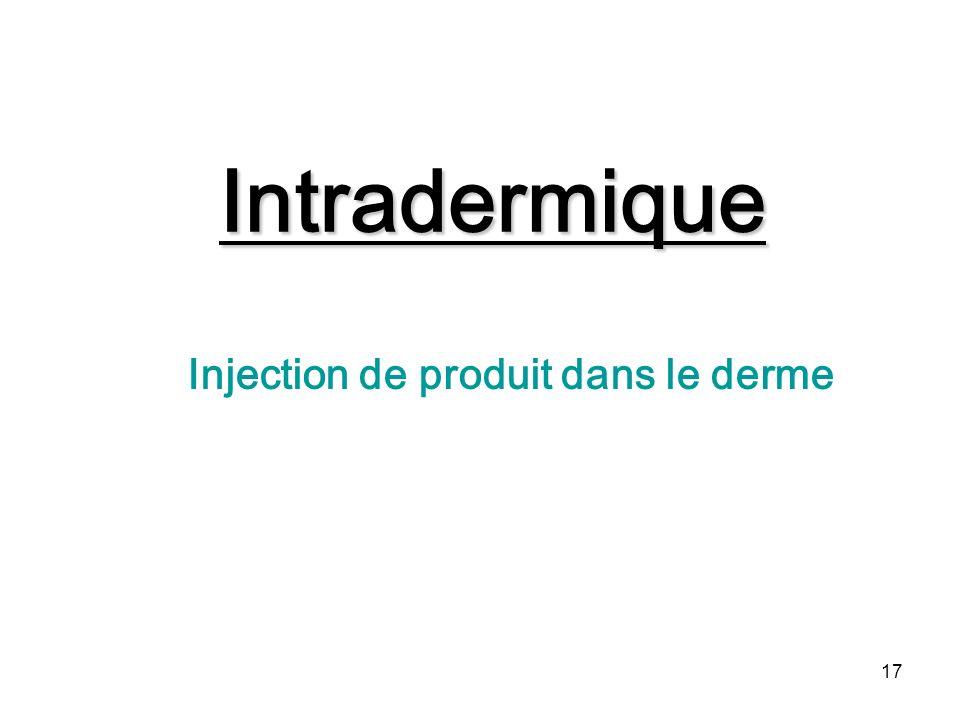 Injection de produit dans le derme