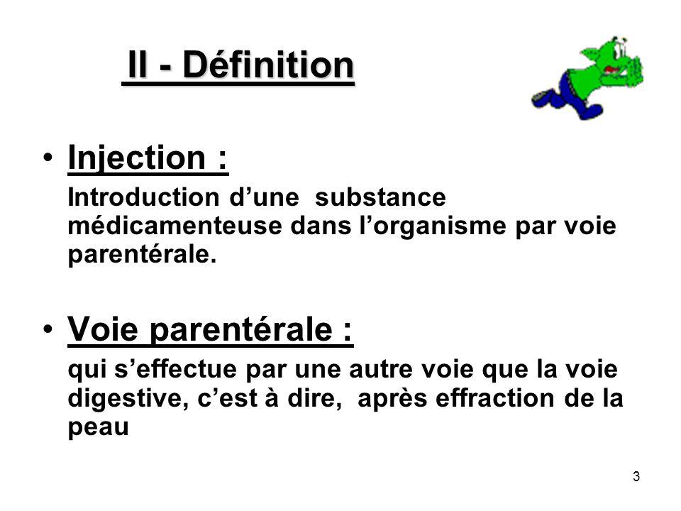 II - Définition Injection : Voie parentérale :