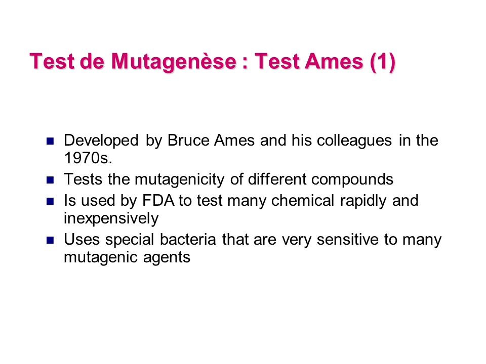 Test de Mutagenèse : Test Ames (1)