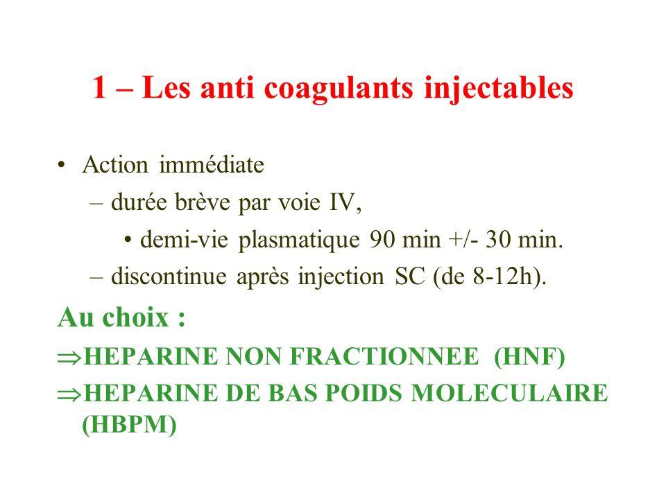 1 – Les anti coagulants injectables
