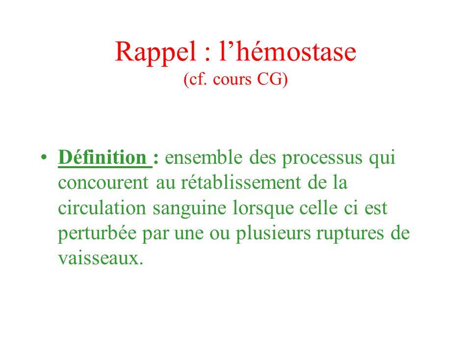 Rappel : l'hémostase (cf. cours CG)