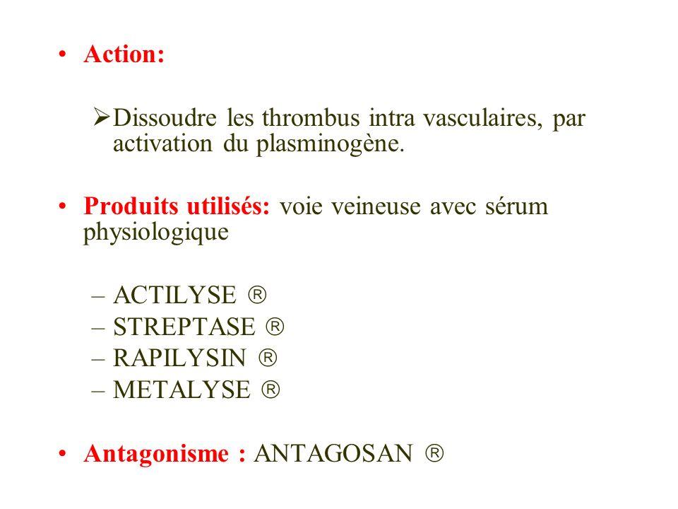 Action:Dissoudre les thrombus intra vasculaires, par activation du plasminogène. Produits utilisés: voie veineuse avec sérum physiologique.