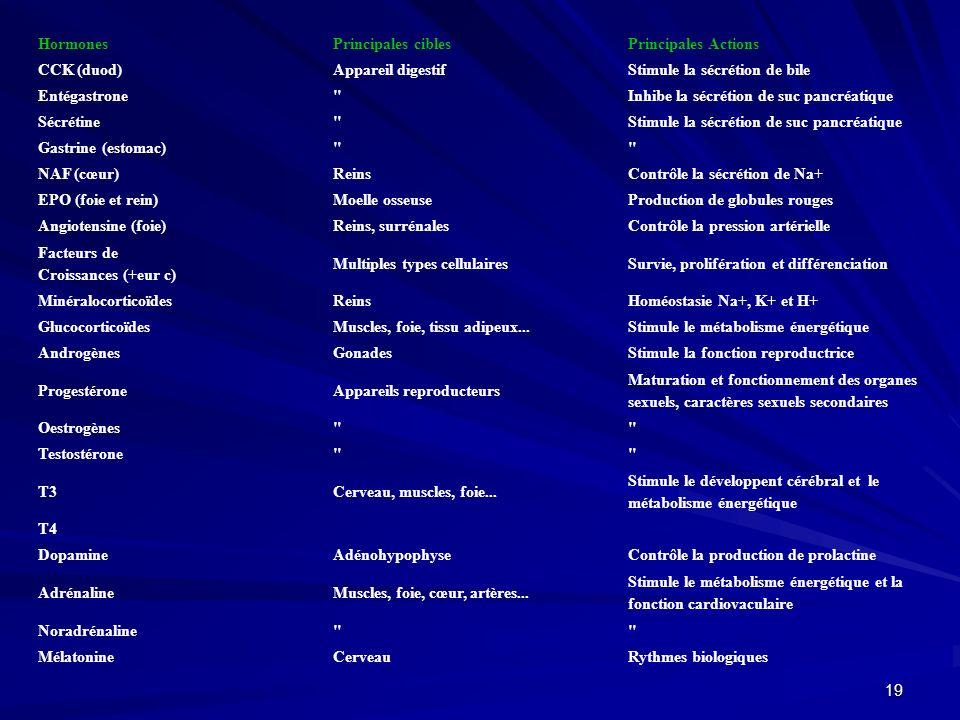 Hormones Principales cibles. Principales Actions. CCK (duod) Appareil digestif. Stimule la sécrétion de bile.