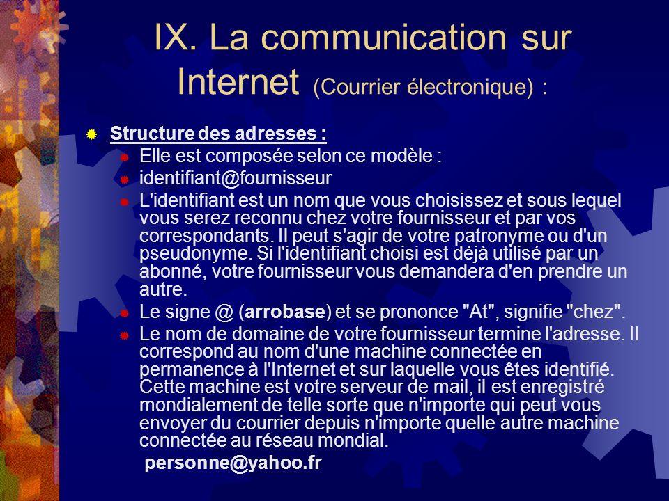 IX. La communication sur Internet (Courrier électronique) :