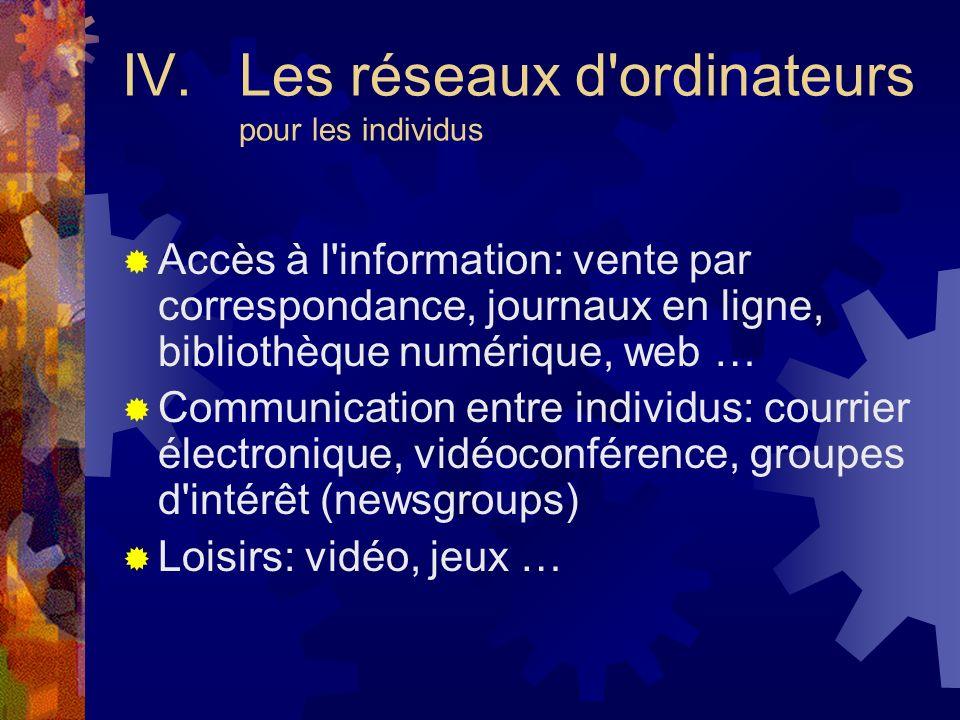 IV. Les réseaux d ordinateurs pour les individus