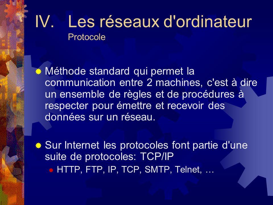 IV. Les réseaux d ordinateur Protocole