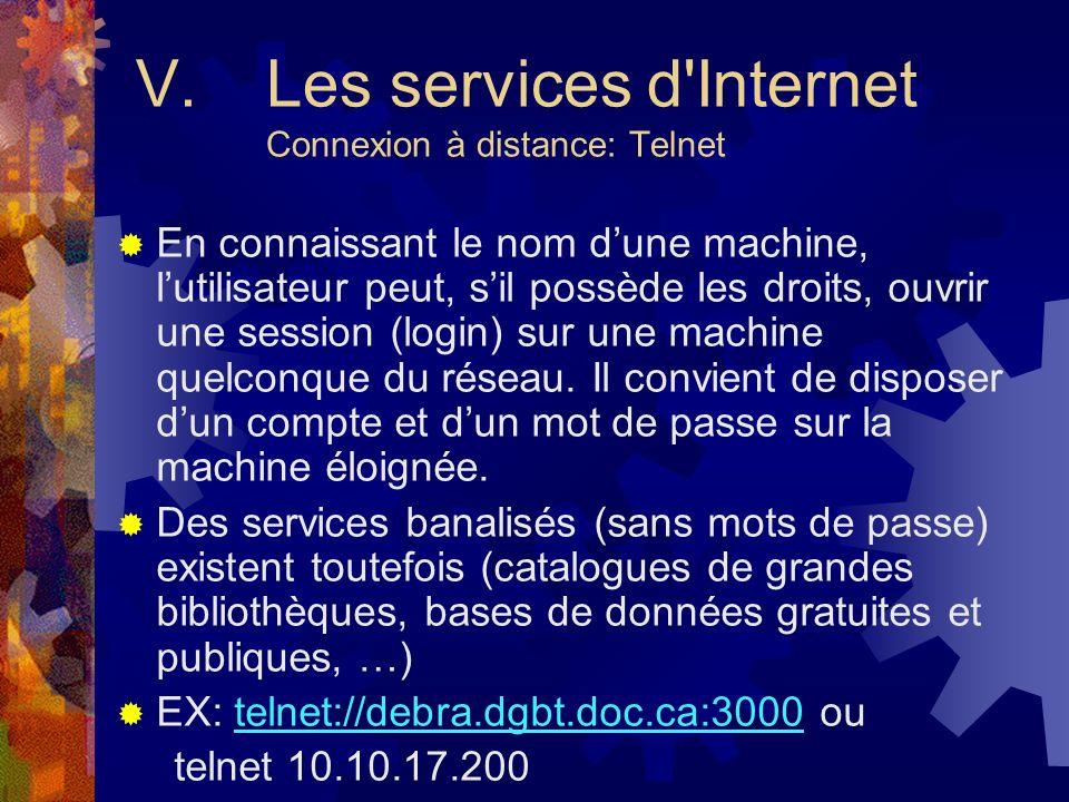 V. Les services d Internet Connexion à distance: Telnet