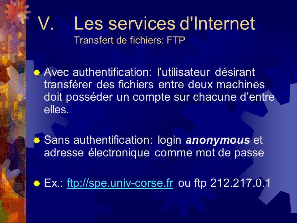 V. Les services d Internet Transfert de fichiers: FTP